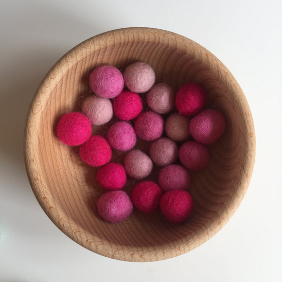 Shades of Pink Felted Balls - 20mm