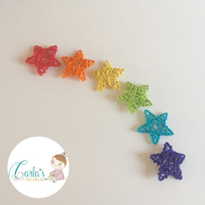 Rainbow Wicker Stars / Set of 6