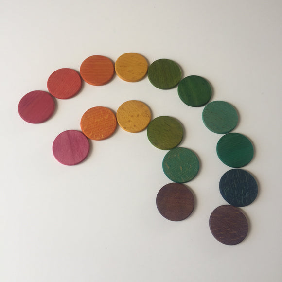 Carla's Treasure Rainbow Counters / Organic Wood Coins / Loose Parts