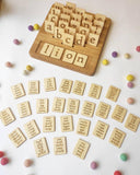 Wooden Double-Sided Board/Stand with Lowercase Letter Cards / Alphabet Set