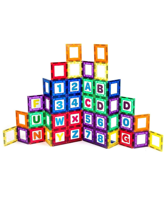 Playmags Magnetic Tile Building Set: Educational Clickins – 36-Pc. Kit: 18 Super Strong Clear Color Magnet Tiles Windows & 18 Letters & Numbers – Stimulate Creativity & Brain Development