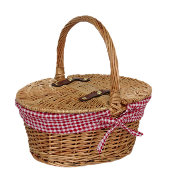 Check Oval Picnic Basket - Red
