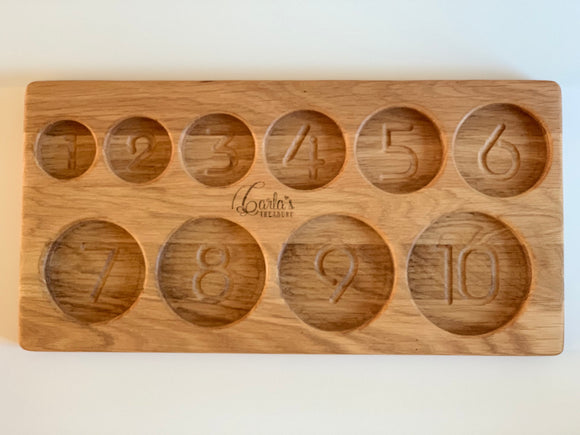 1-10 Number Sorting Tray / 10 rounded section tray