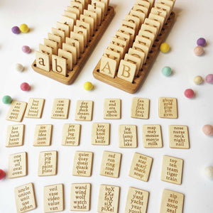 Wooden Uppercase Lowercase letter cards with holder / Set of alphabet cards with stand