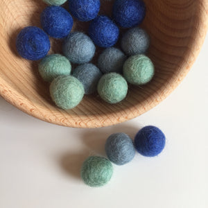 Shades of Blue Felted Balls - 20mm