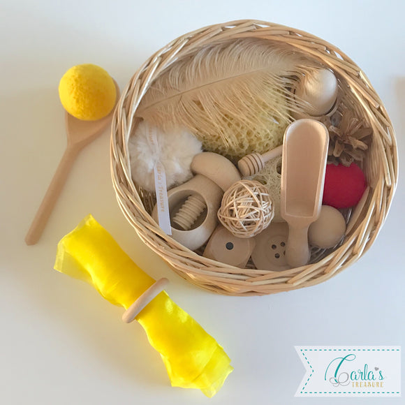 Montessori Themed Baby Sensory Basket - 20 objects