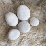 White Stacking Felted Pebbles