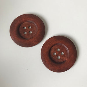 Extra Large Wooden Brown Buttons, Threading Activity Set