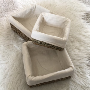 Lined Square Seagrass Baskets / Tray - Set of 3