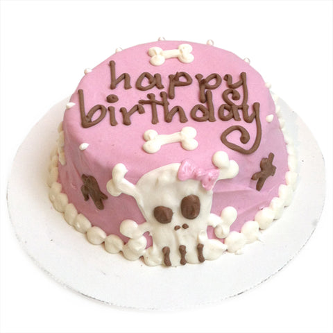 pink skull birthday cake for dogs