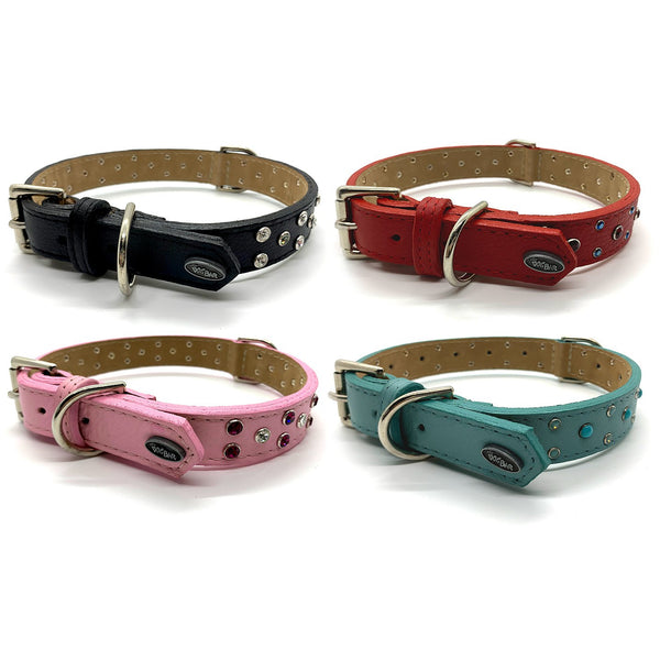 Dog Bar Fine Leather with Riveted Crystals Collars