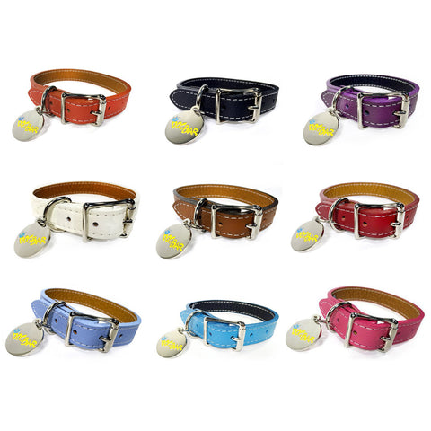Dog Bar Italian Leather Dog Collar