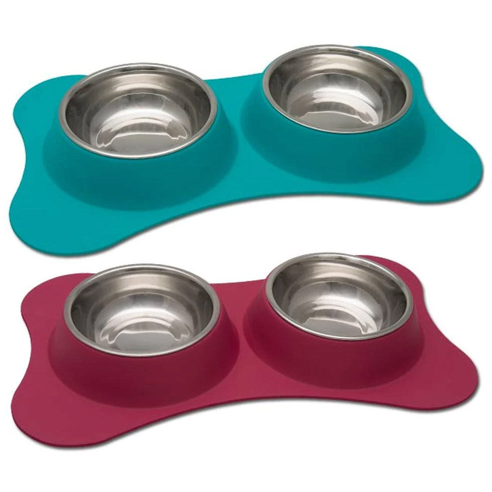 Loving Pets Bone-Shaped Flexible Double Diner