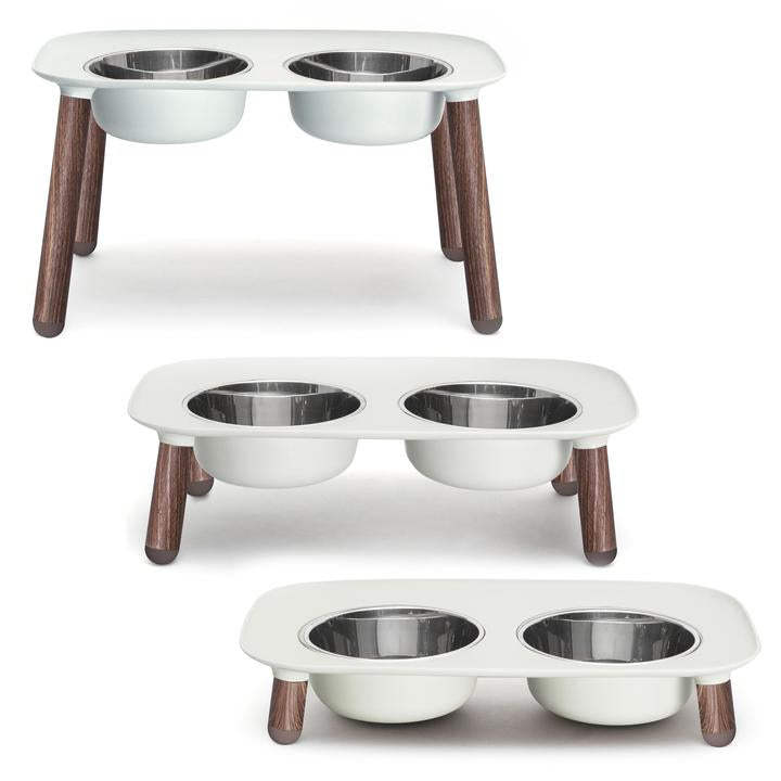 Messy Mutts Elevated Silicone Double Diner with Faux Wood Legs