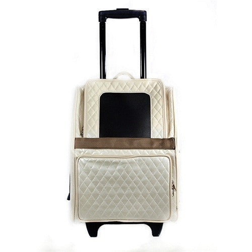 Quilted Luxe Rio Pet Carrier On Wheels In Ivory
