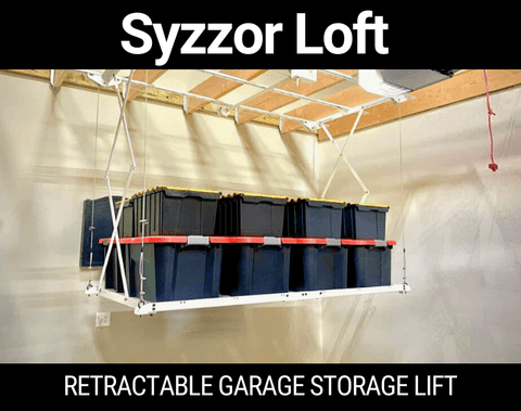Syzzor Loft Retractable Garage Storage Lift  The Syzzor Loft Retractable Garage Storage Lift is unlike any other overhead garage storage unit featured in this post. It's the first retractable overhead garage storage system that doesn't require a power source of any kind. It can be raised or lowered quickly and easily with a drill or a simple hand crank. No ladders are required!  Made of the highest-quality steel in the USA, the Syzzor Loft Retractable Garage Storage Lift can hold up to 800 pounds of distributed weight. And what's more, the retracable unit does not swing due to the support cables and exclusive Syzzor function.  Key Points  Made in the USA  Free shipping  Less expensive than other retactable units  Pros  Holds up to 800 lbs. in distributed weight  Designed to last with USA Steel.  Does not require power to use  Cons  Storage totes are not included