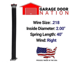 "Right Wound .218 x 2.00"" x 40"" garage door torsion spring"