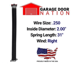 "Right Wound .250 x 2.00"" x 31"" garage door torsion spring"