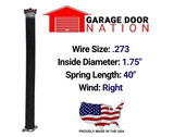 "Right Wound .273 x 1.75"" x 40"" garage door torsion spring"