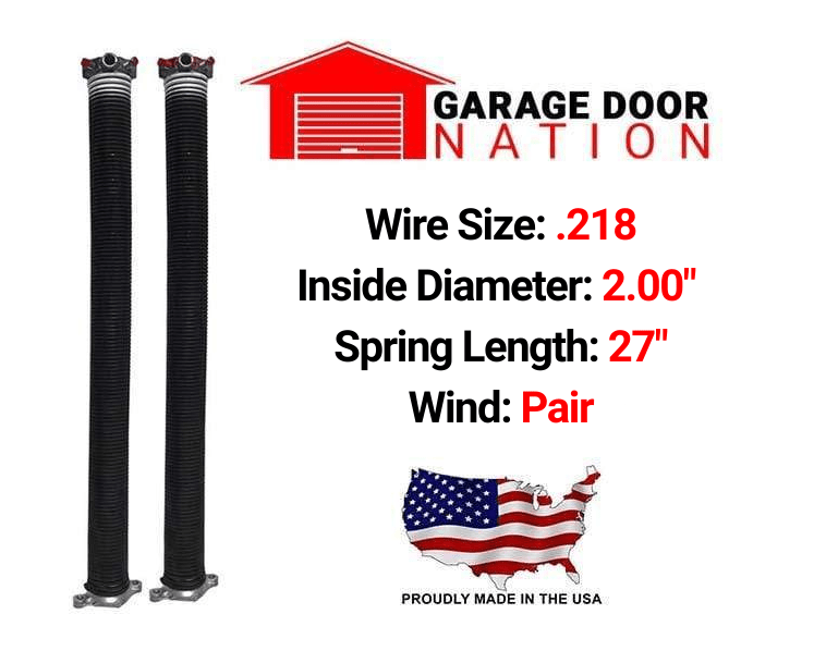 ".218 x 2.00"" x 27"" garage door torsion springs"