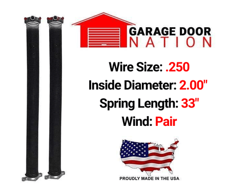 "Pair .250 x 2.00"" x 33"" garage door torsion springs"