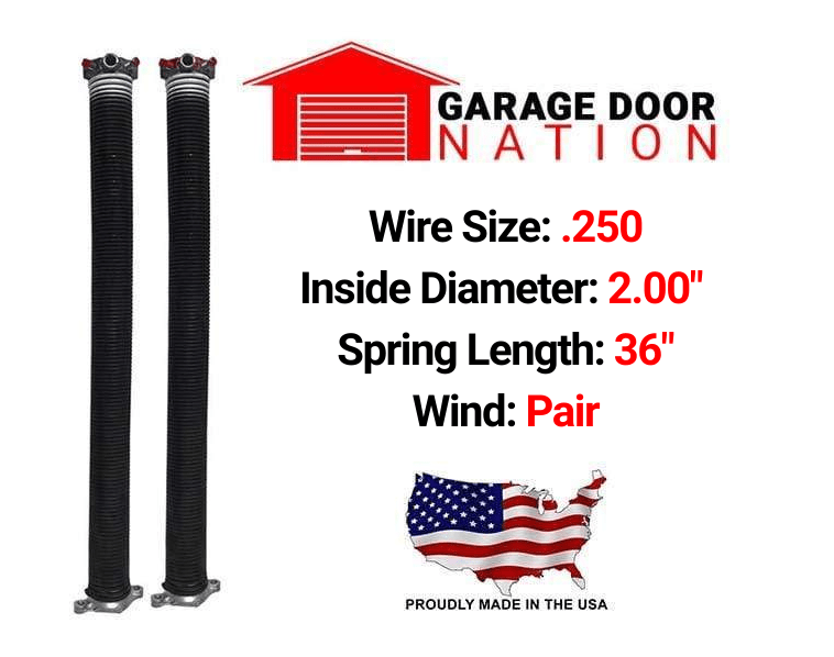 "Pair .250 x 2.00"" x 36"" garage door torsion springs"