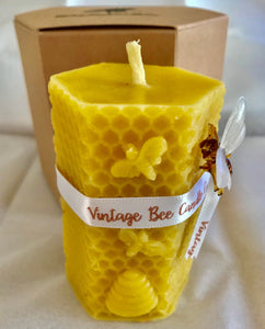 Natural Beeswax Pillar Candle - 100% Pure Beeswax | UK - Beeswax Wraps