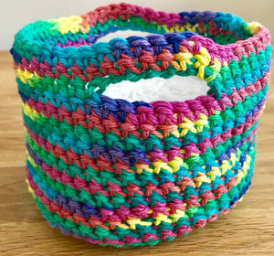 Crocheted Cotton Face Scrubbies in a Colourful Basket - Beeswax Wraps