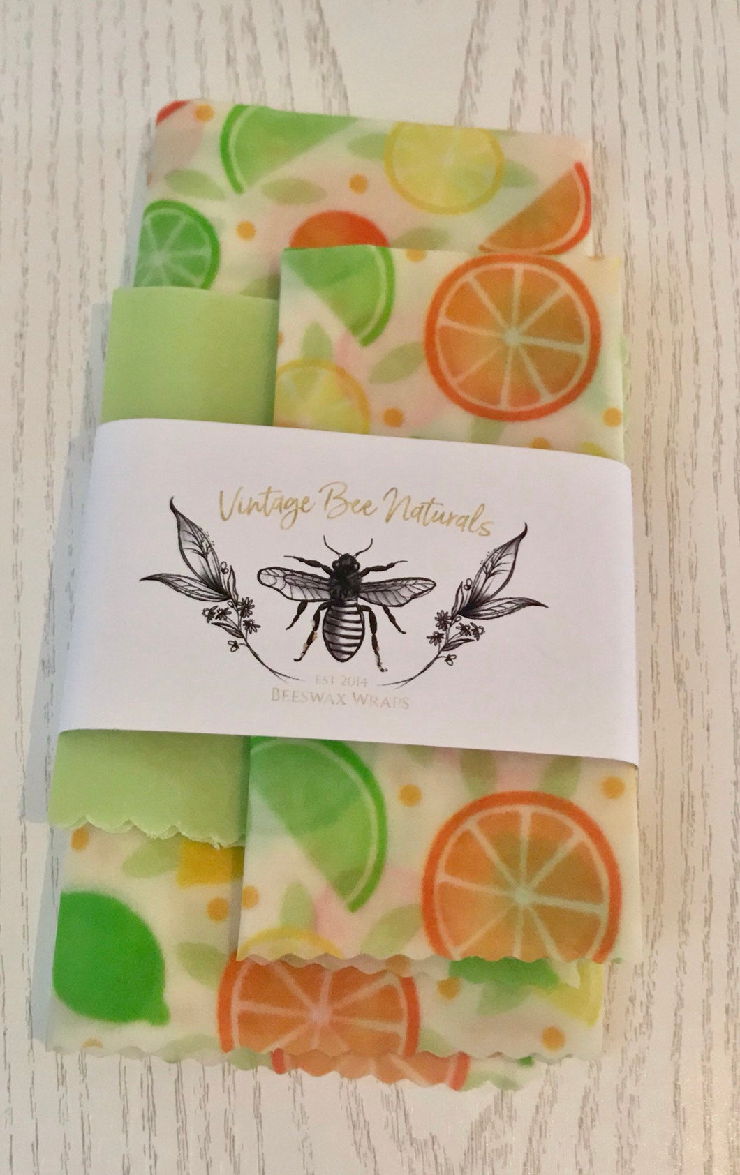 Citrus Fruits Beeswax Food Wrap Set of 3 Medium & Large Re-usable | Organic Cotton | zero waste | UK - Beeswax Wraps