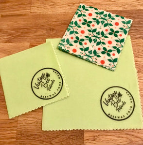 Beeswax Food Wrap Set of 3| Re-usable | Organic Cotton Ecofriendly - Beeswax Wraps