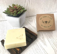 Load image into Gallery viewer, Handmade Pure & Simple Coconut & Olive Vegan Soap Bar - for body and hair - Beeswax Wraps