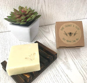 Handmade Pure & Simple Coconut & Olive Vegan Soap Bar - for body and hair - Beeswax Wraps