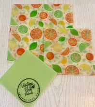 Load image into Gallery viewer, Citrus Fruits Beeswax Food Wrap Set of 3 (SML) Large Re-usable | Organic Food Safe Cotton | zero waste - Beeswax Wraps