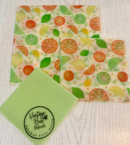 Citrus Fruits Beeswax Food Wrap Set of 3 (SML) Large Re-usable | Organic Food Safe Cotton | zero waste - Beeswax Wraps