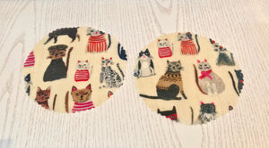 Cat Pet Food Tin/Jar/fridge pack beeswax wrap Covers x 2 | Re-usable | eco friendly | organic cotton - Beeswax Wraps