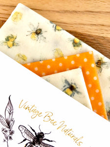 Eco friendly Beeswax Food Wrap Set of 3 | Re-usable | Zero Waste | UK - Beeswax Wraps