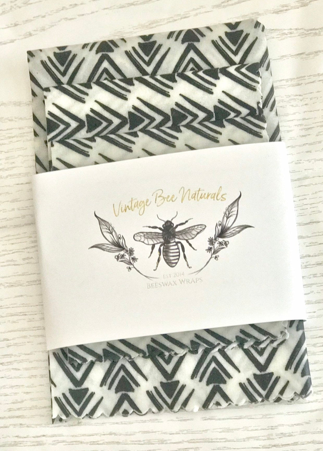 Beeswax Food Wrap Set of 3 Black & white - Beeswax Wraps