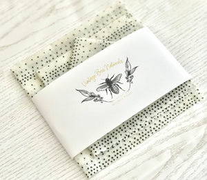 Beeswax Food Wrap Set of 3 Black and White Monochrome | Re-usable | Organic Cotton | Ecofriendly - Beeswax Wraps
