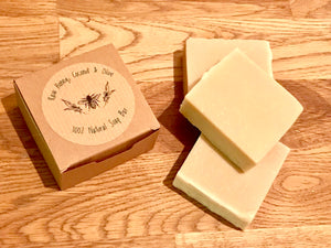 Raw Honey, Coconut & Olive Oil Soap Bar - for body and hair - Beeswax Wraps