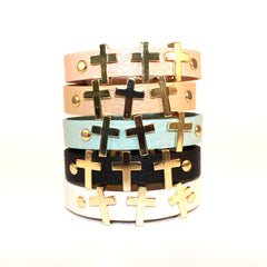 Triple Cross on Leather Band