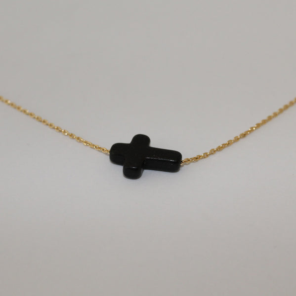 Carved Stone Side Cross Necklace
