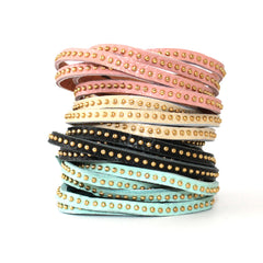 Wrap Around Studded Leather Band