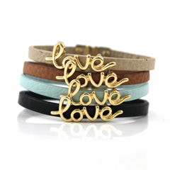 Love Bracelet on Thin Leather Band