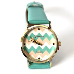 Mint Two Toned Chevron Watch