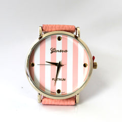 Coral Striped Watch