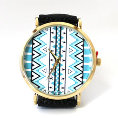 Black & Teal Aztec Watch