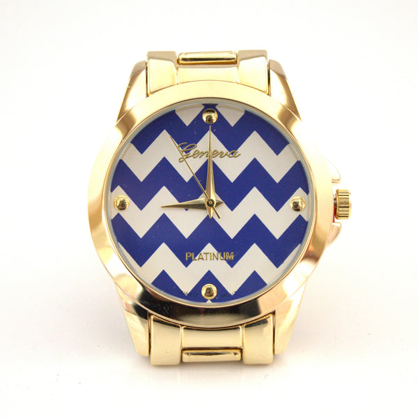 Blue Chevron/Gold