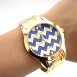 Gold Watch with Chevron Face