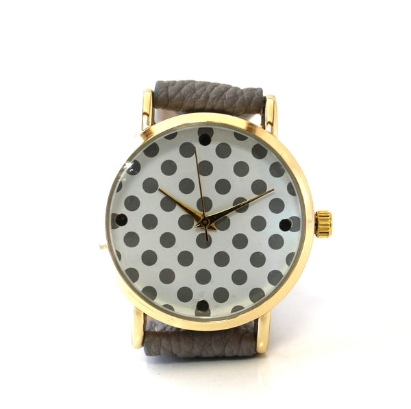 Gray Polka-Dotted Watch