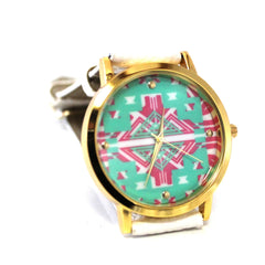 Ivory Multi-Colored Aztec Watch